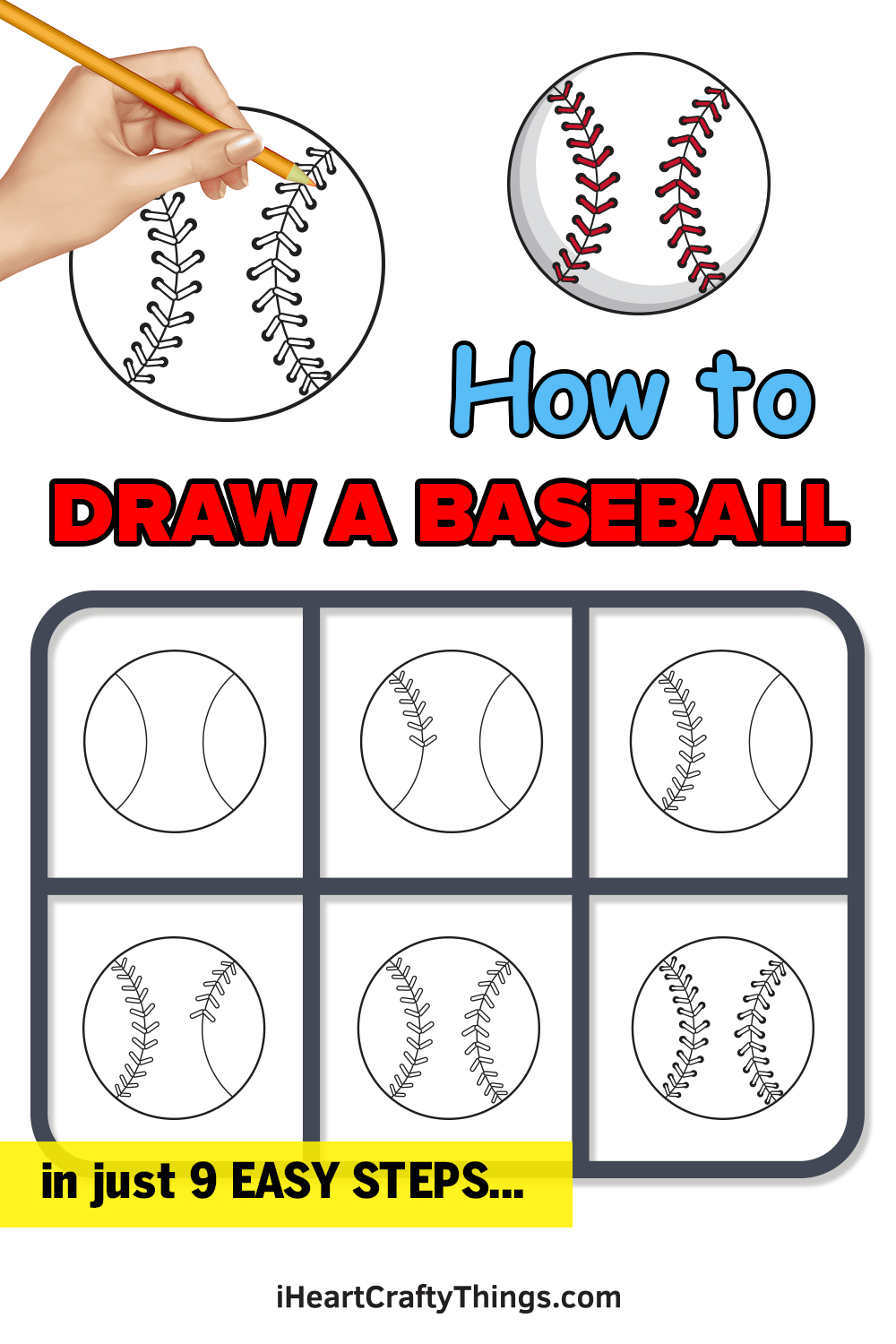how to draw a baseball in 9 easy steps