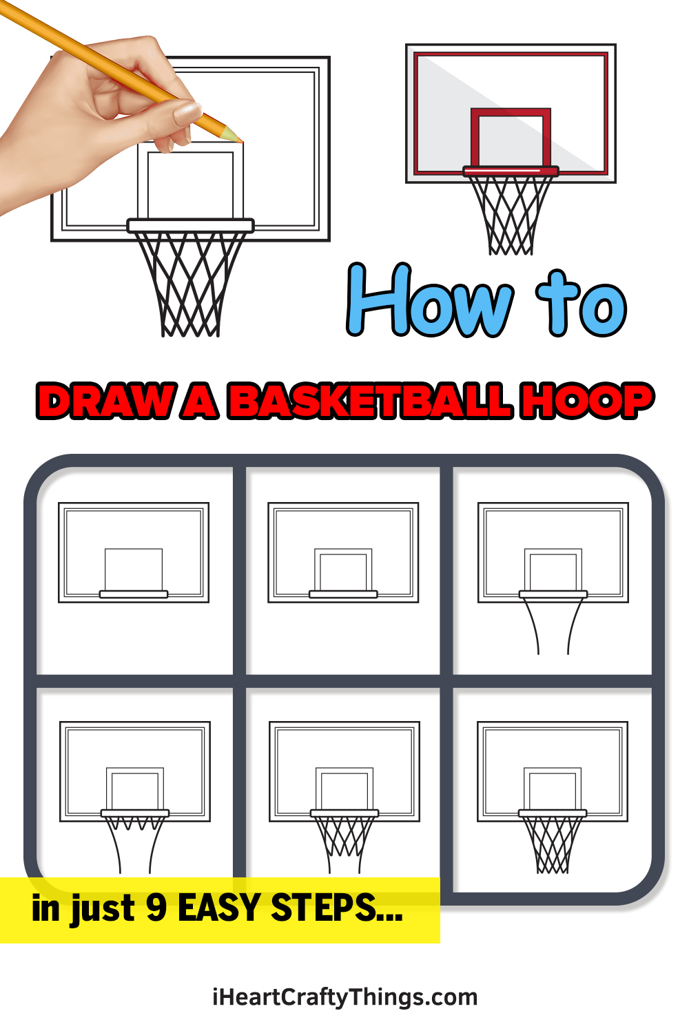how to draw a basketball hoop in 9 easy steps