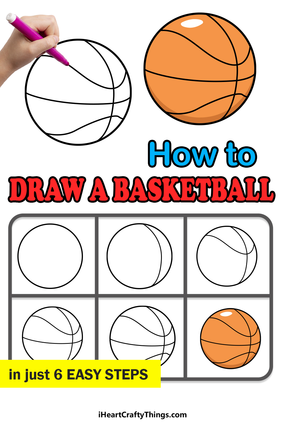how to draw a basketball in 6 easy steps