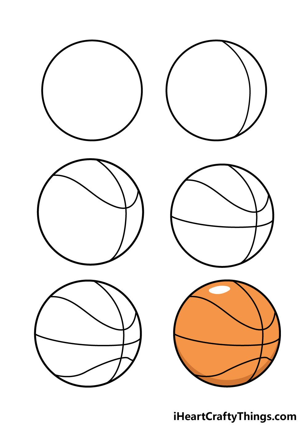 how to draw basketball in 6 steps