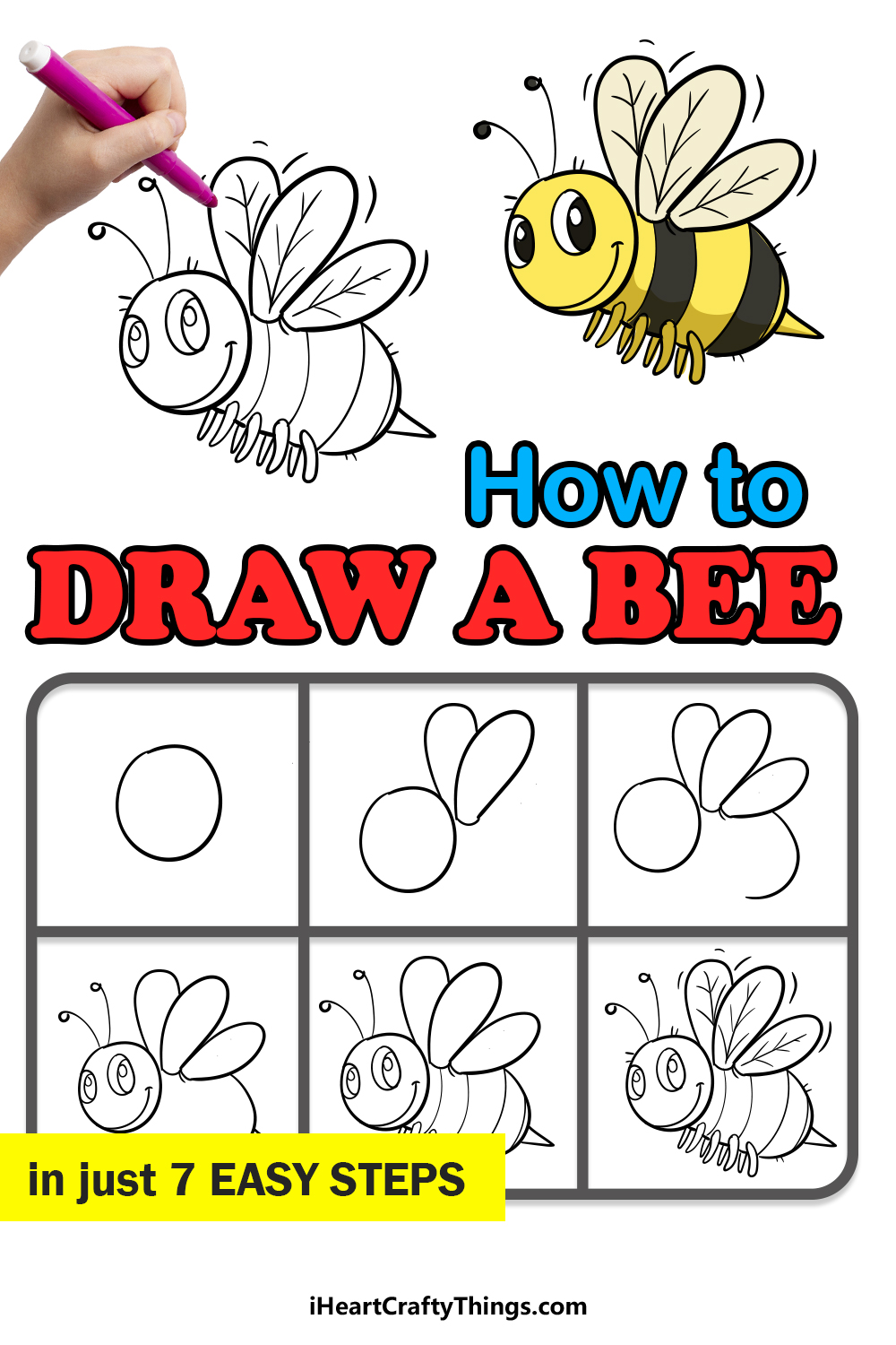 how to draw a bee in 7 easy steps