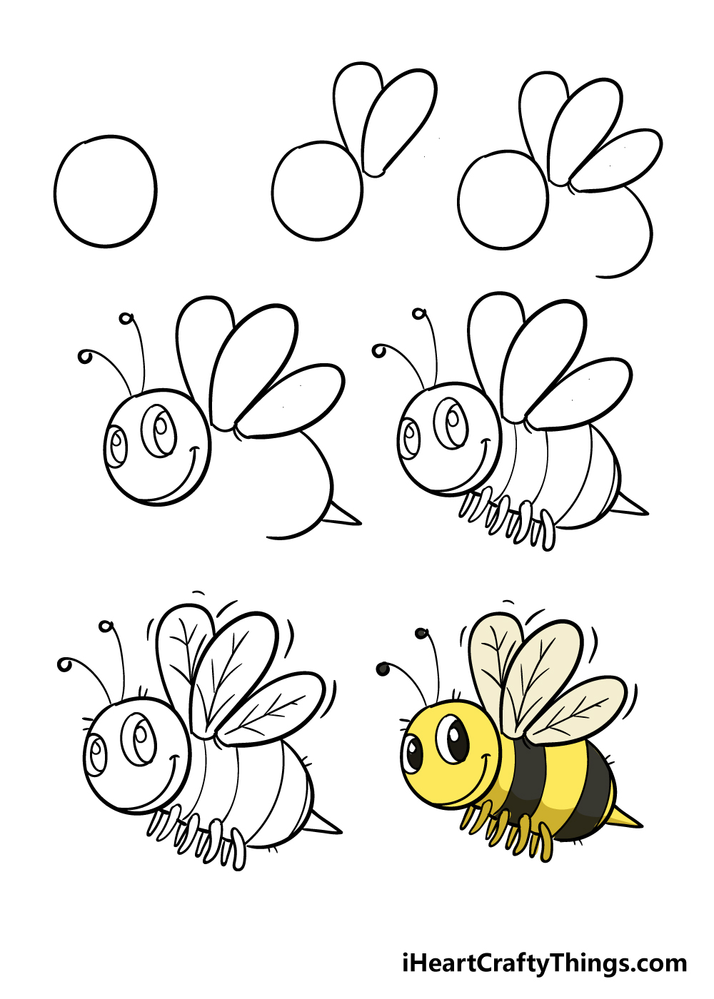 how to draw bee in 7 steps