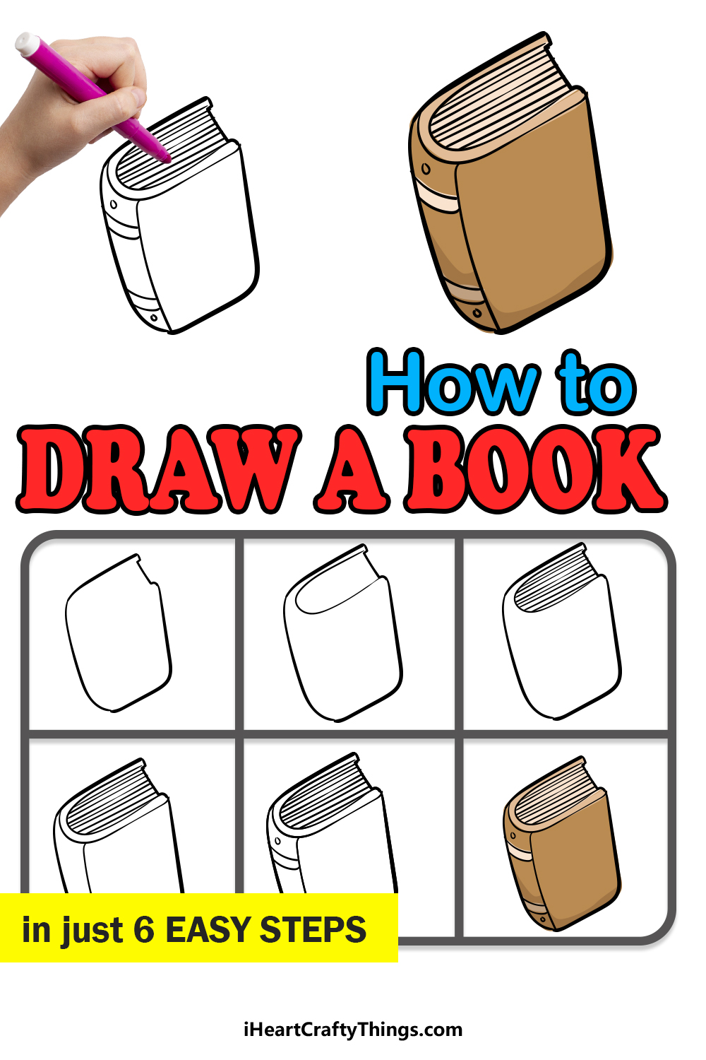 how to draw a book in 6 easy steps