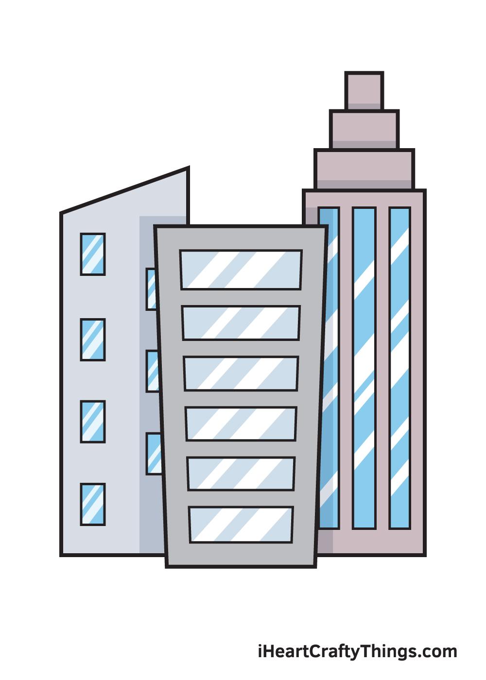 buildings drawing 9 steps