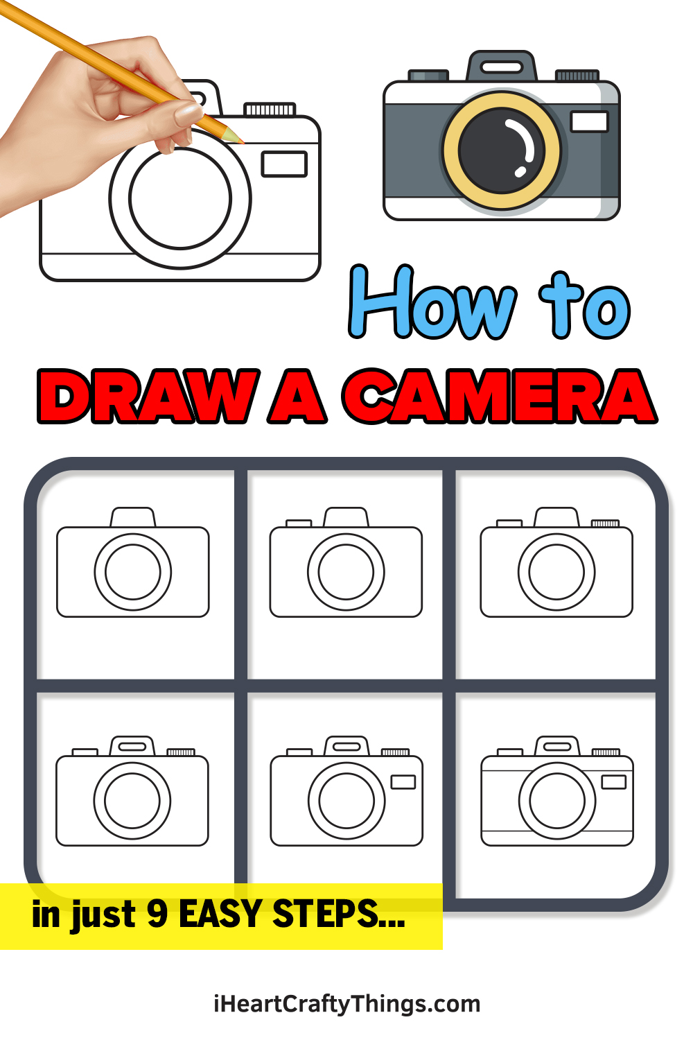 how to draw a camera in 9 easy steps