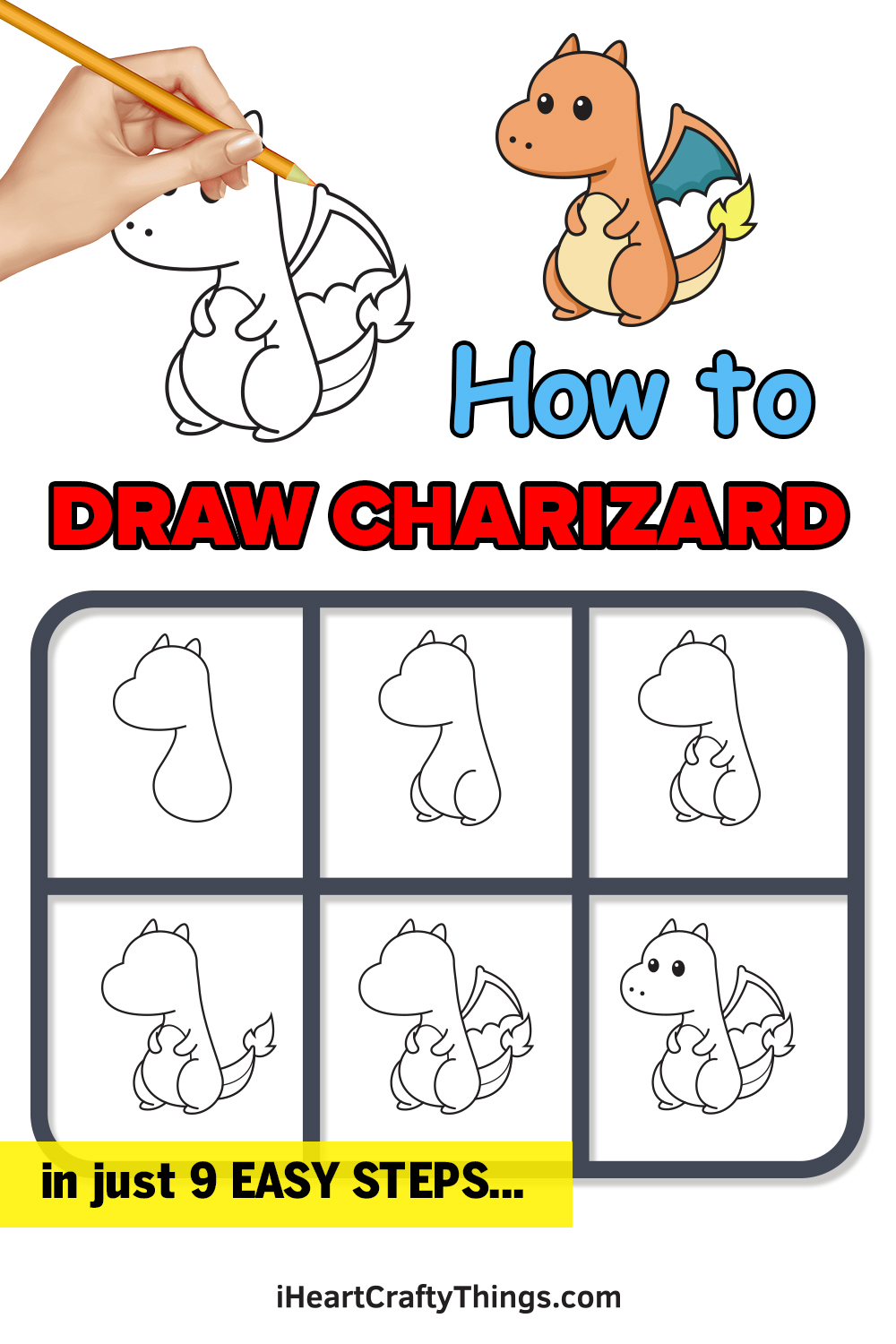 how to draw charizard in 9 easy steps