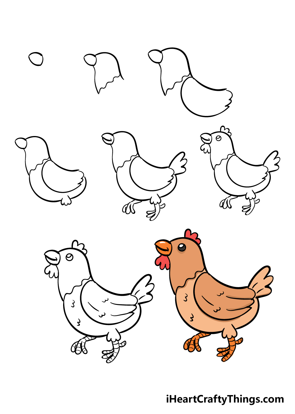 how to draw chicken in 8 steps