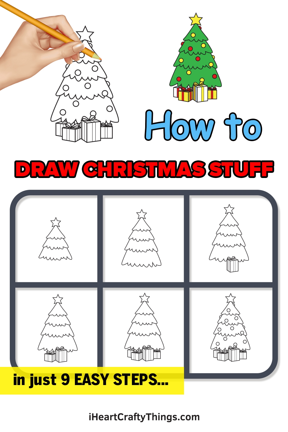how to draw christmas stuff in 9 easy steps