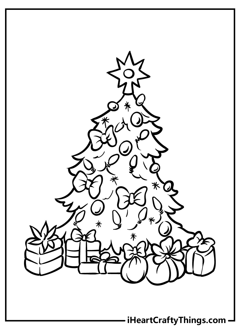 christmas tree coloring pages for adults free download