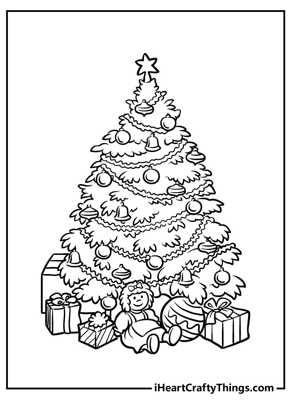 printable black and white christmas tree coloring pages