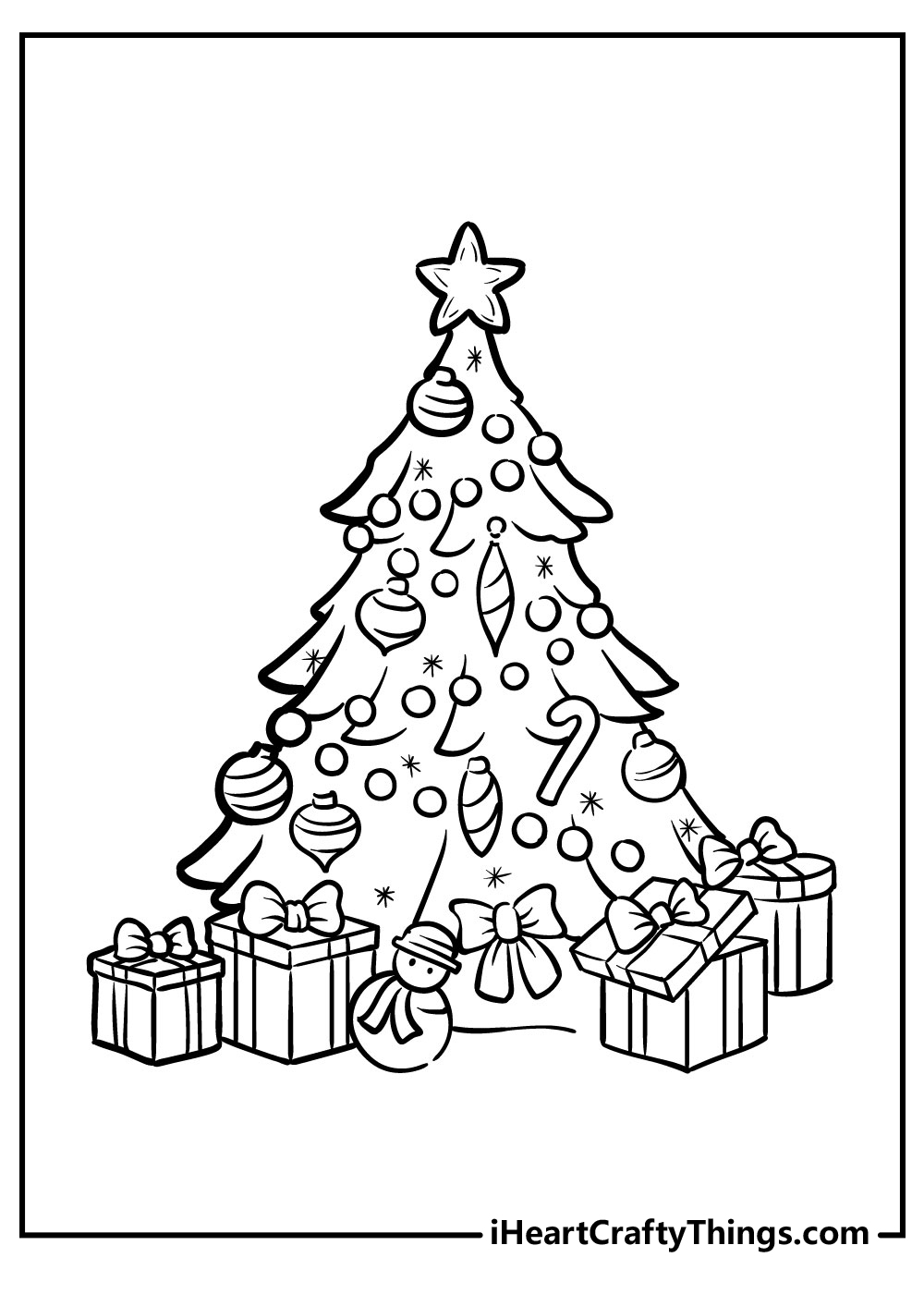 cute christmas tree coloring pages free download