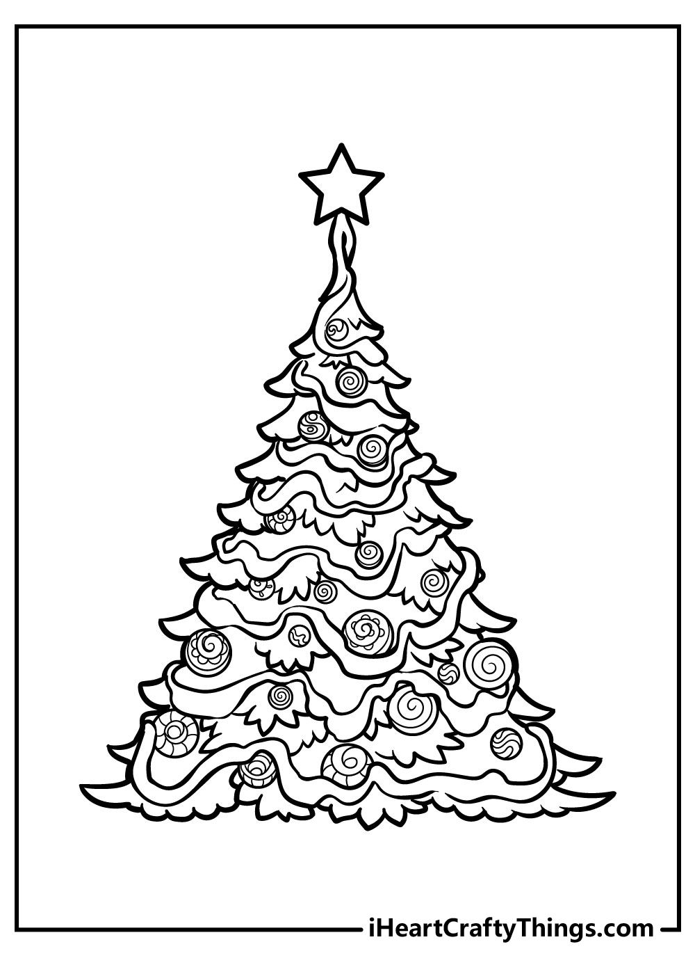 simple christmas tree coloring pages free printable