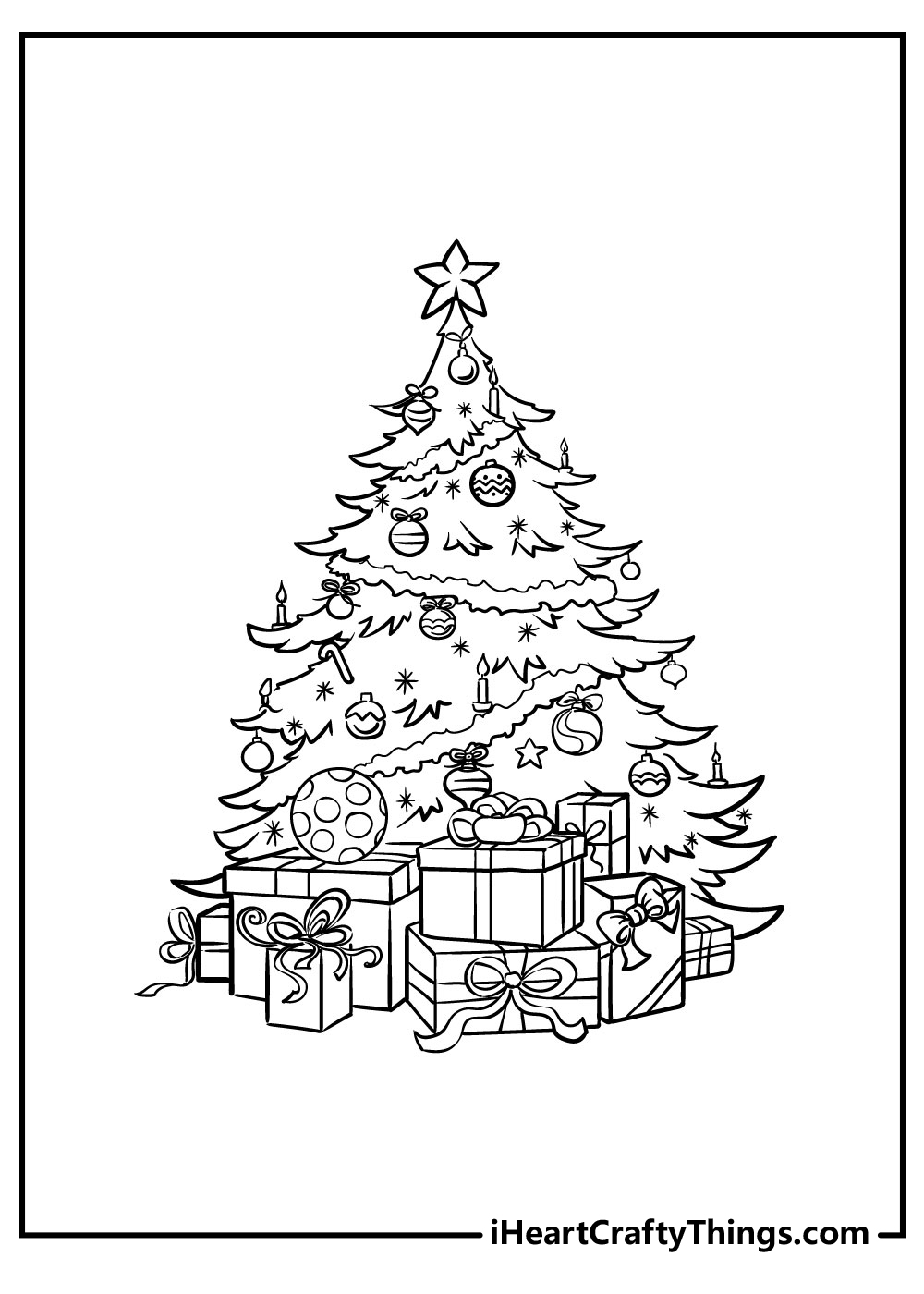 easy christmas tree coloring pages free download
