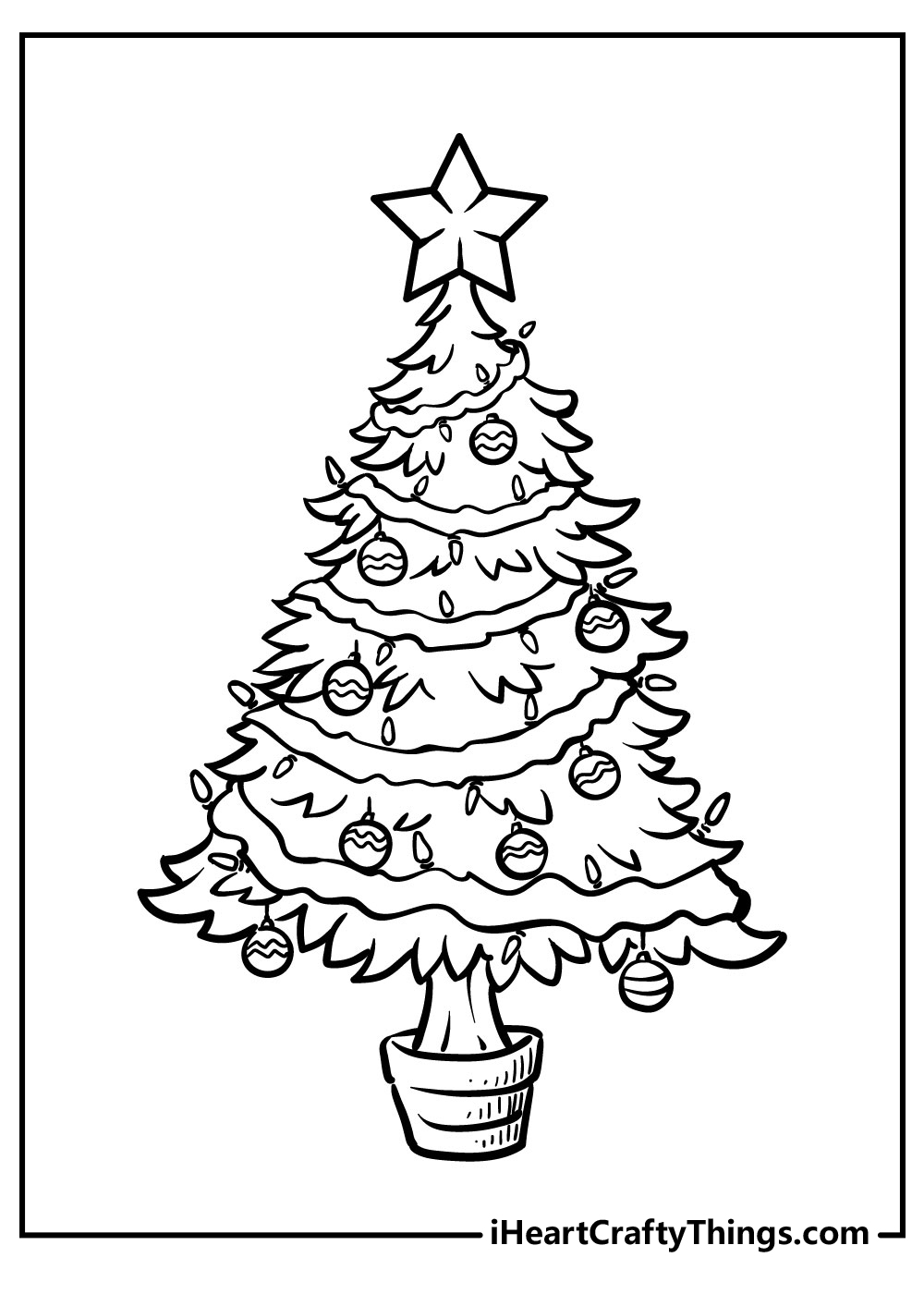 plain christmas tree coloring pages free printable