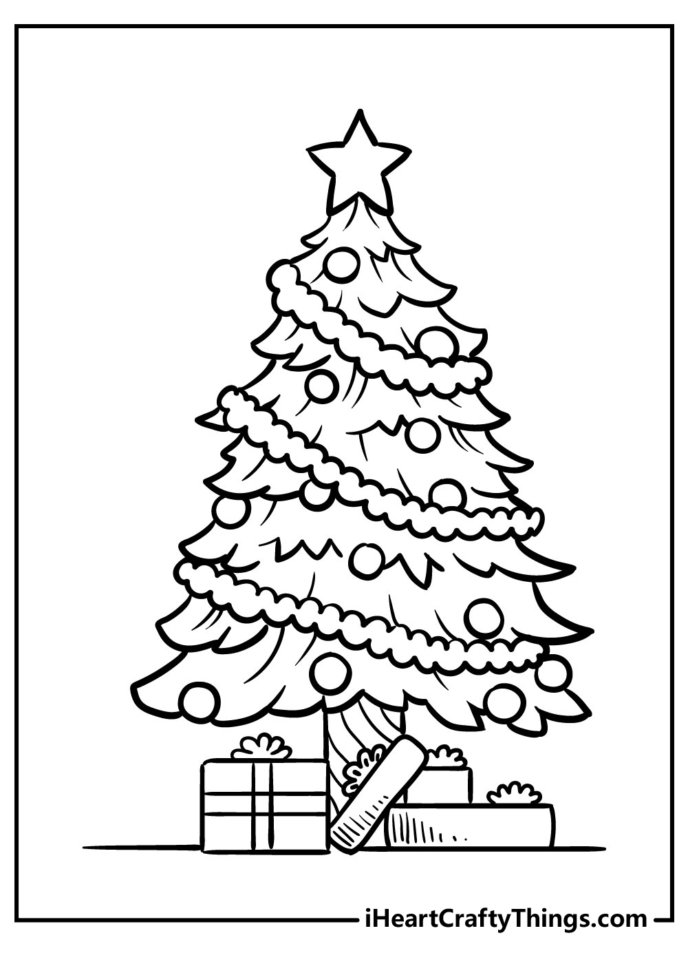 decorated christmas tree coloring pages to print free