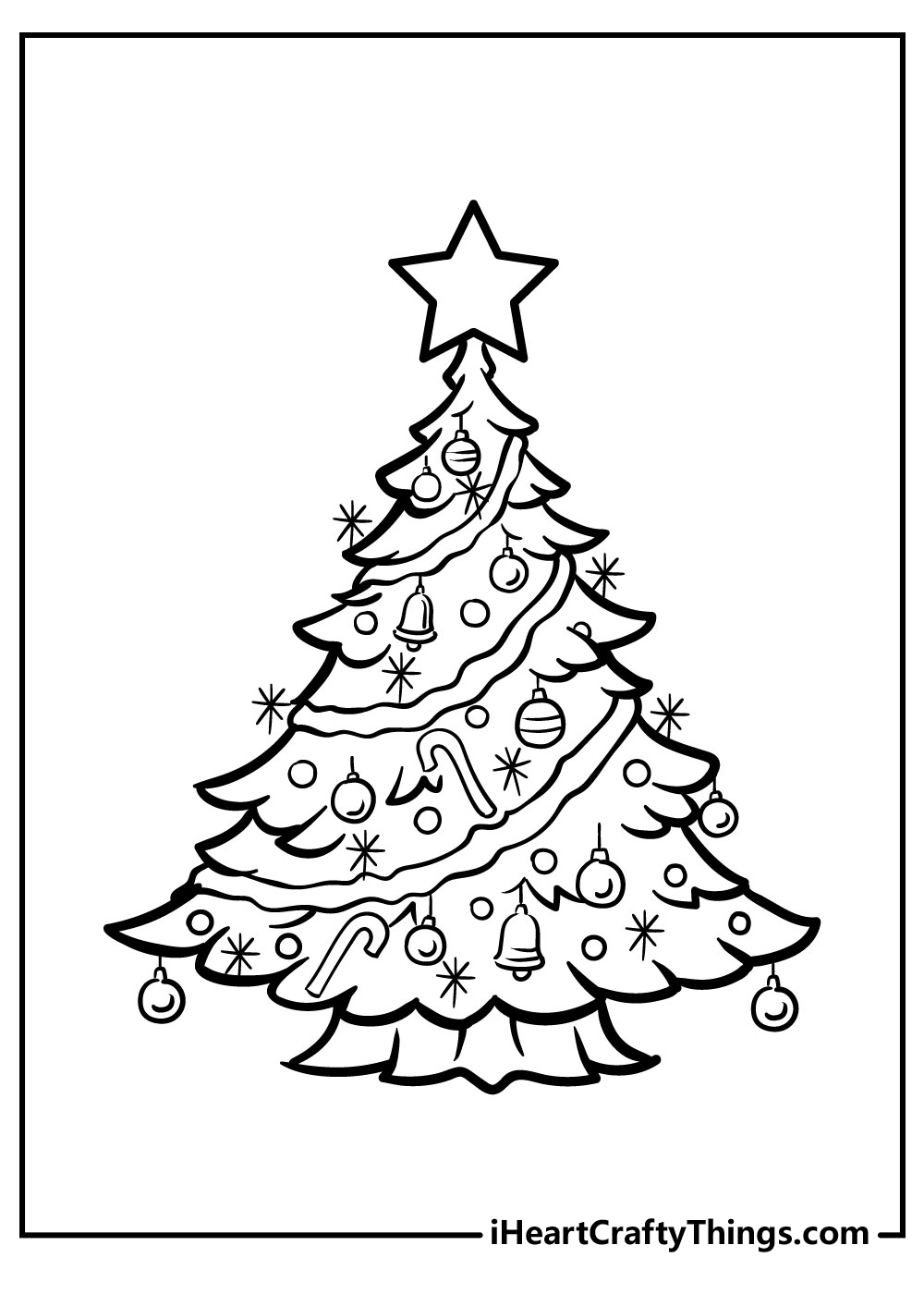 cartoon christmas tree coloring pages