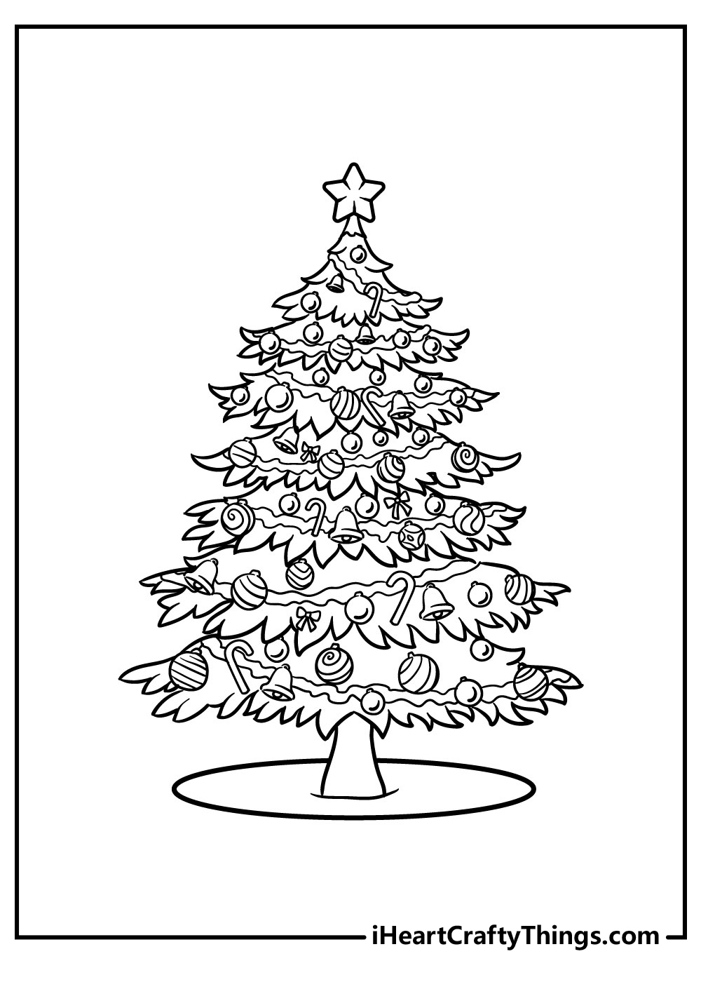 hard christmas tree coloring pages free download