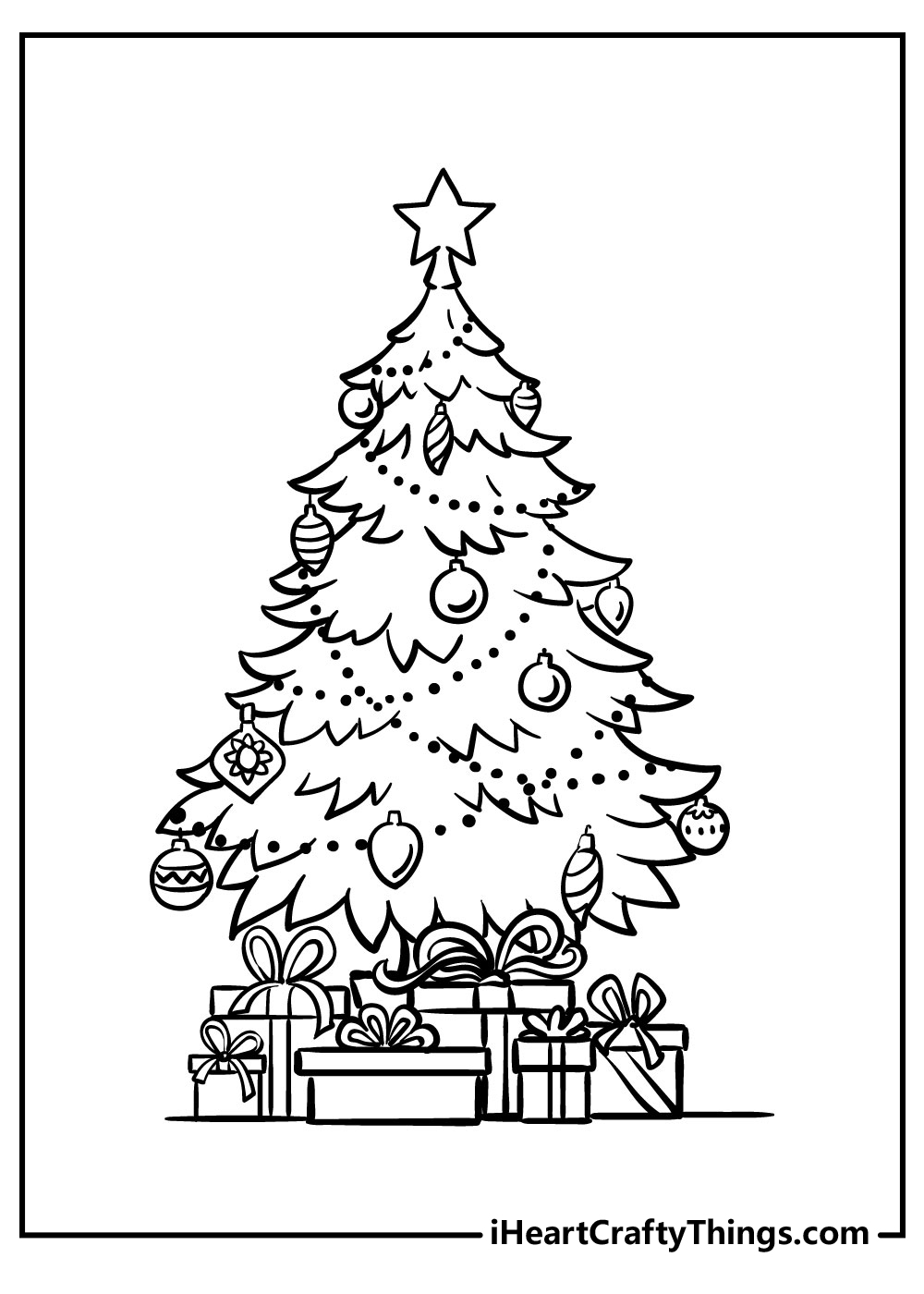christmas tree coloring pages with ornaments