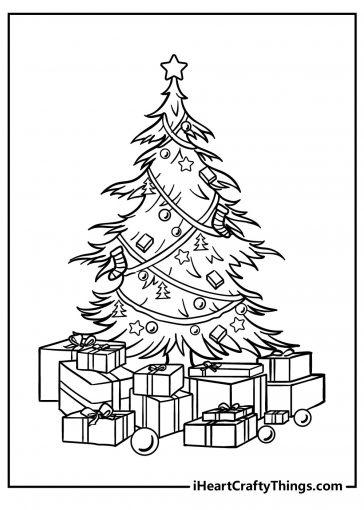 christmas tree coloring images free printable