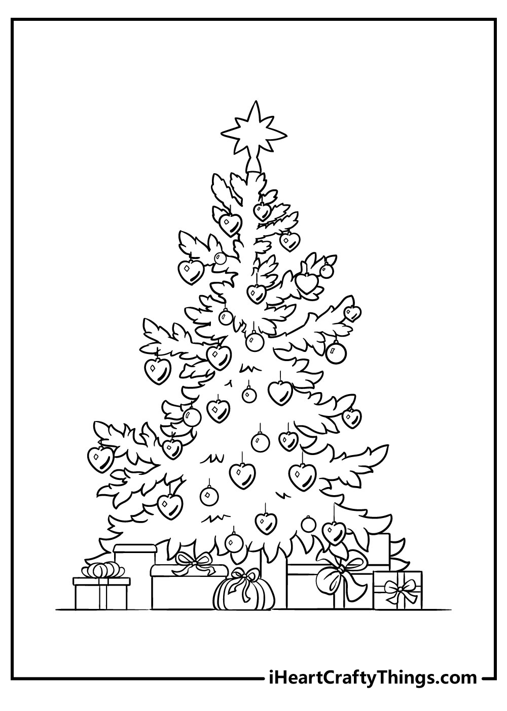 free christmas tree coloring pages to print