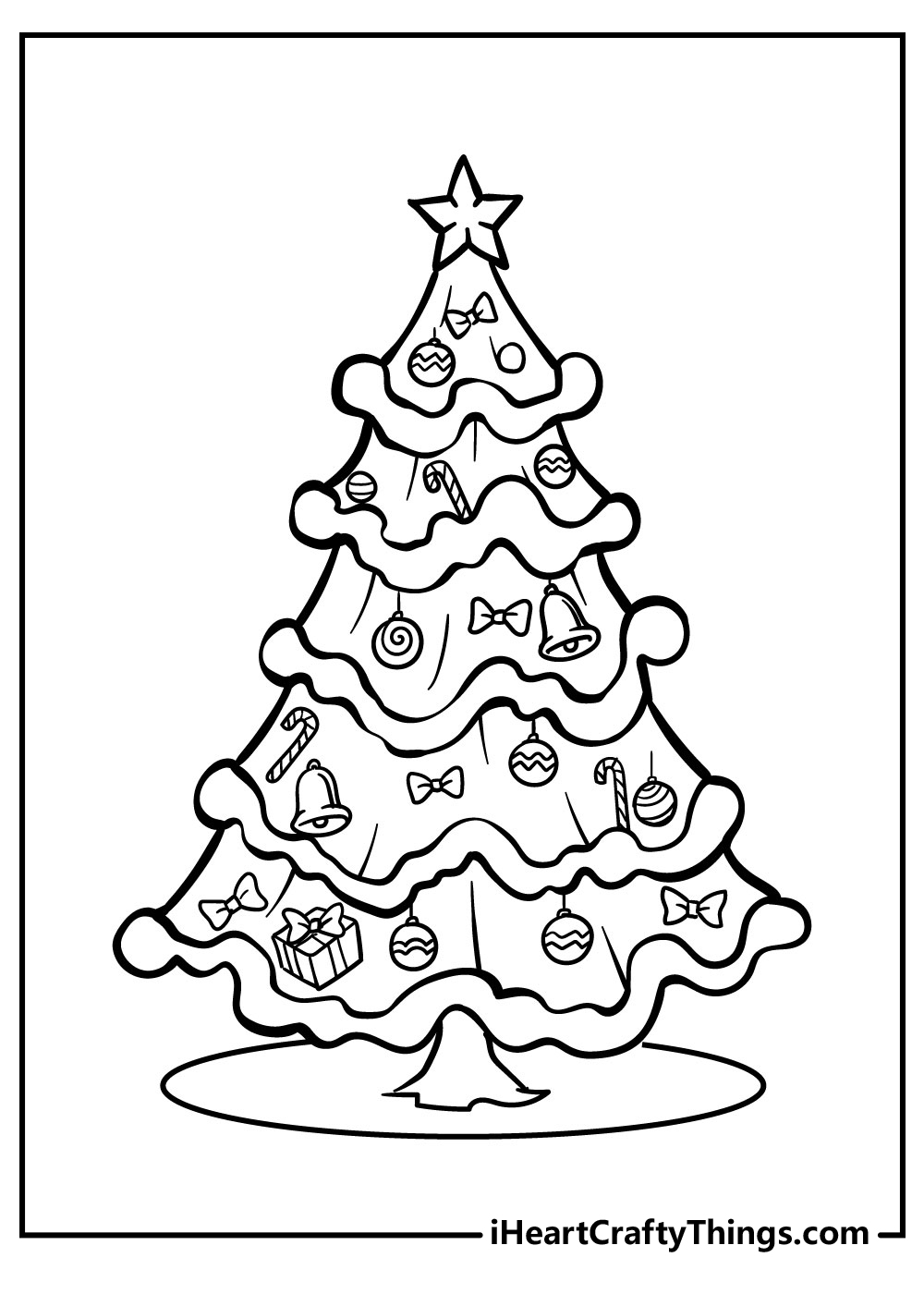 difficult christmas tree coloring pages for adults