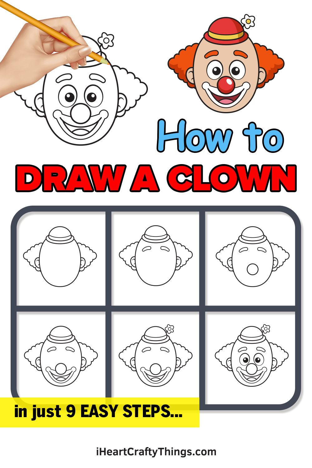 how to draw a clown in 9 easy steps