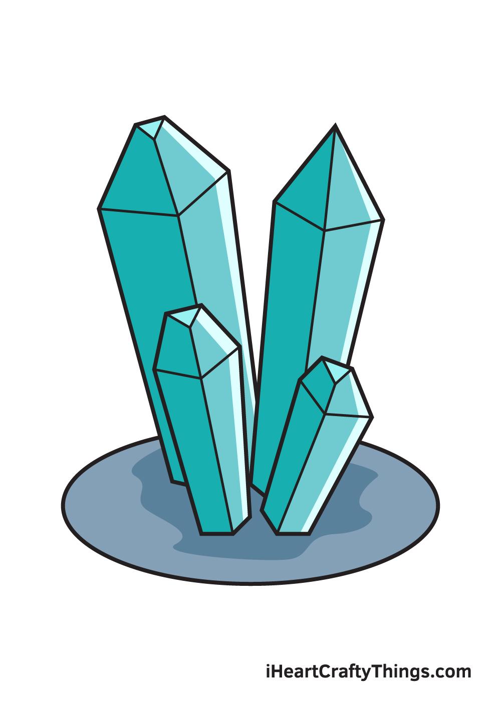 crystals drawing 9 steps