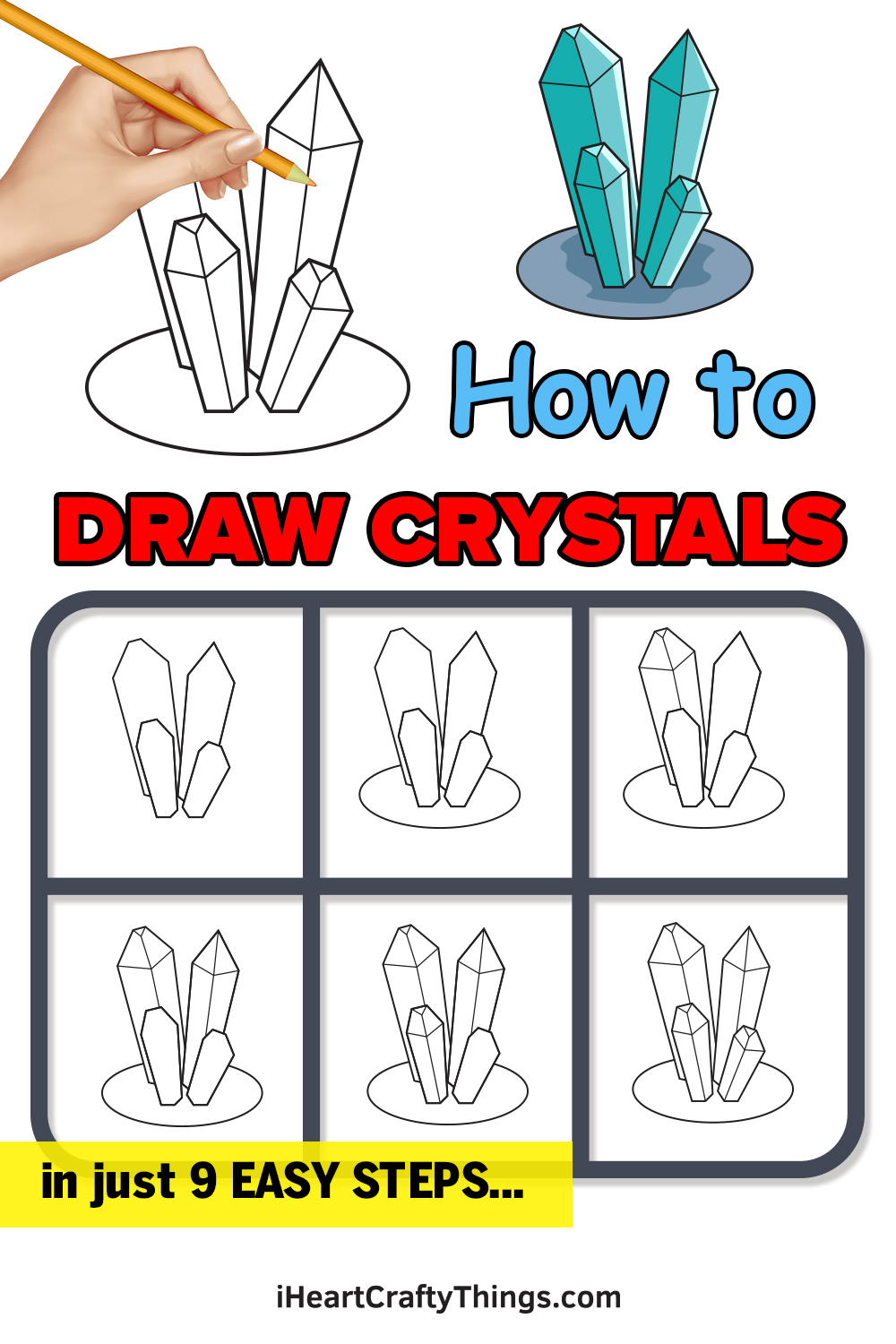 how to draw crystals in 9 easy steps