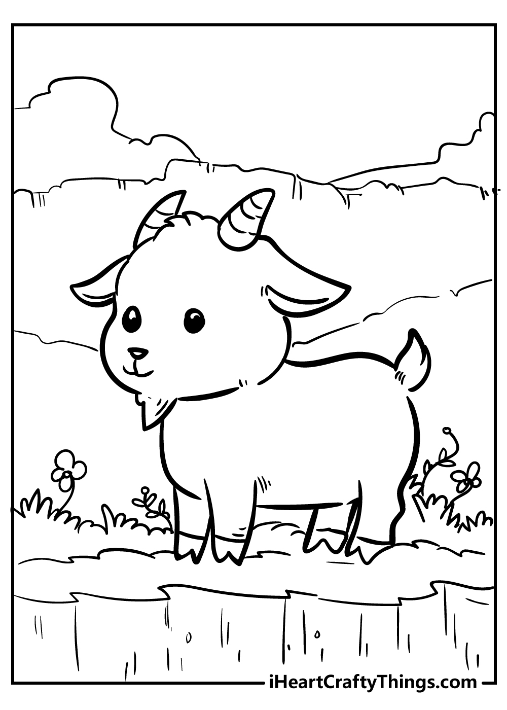 cute little goat coloring pages free printable