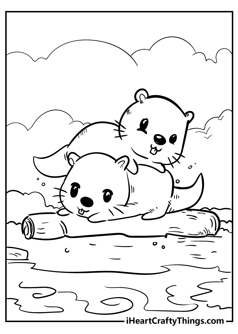 cute little beavers coloring pages free printable