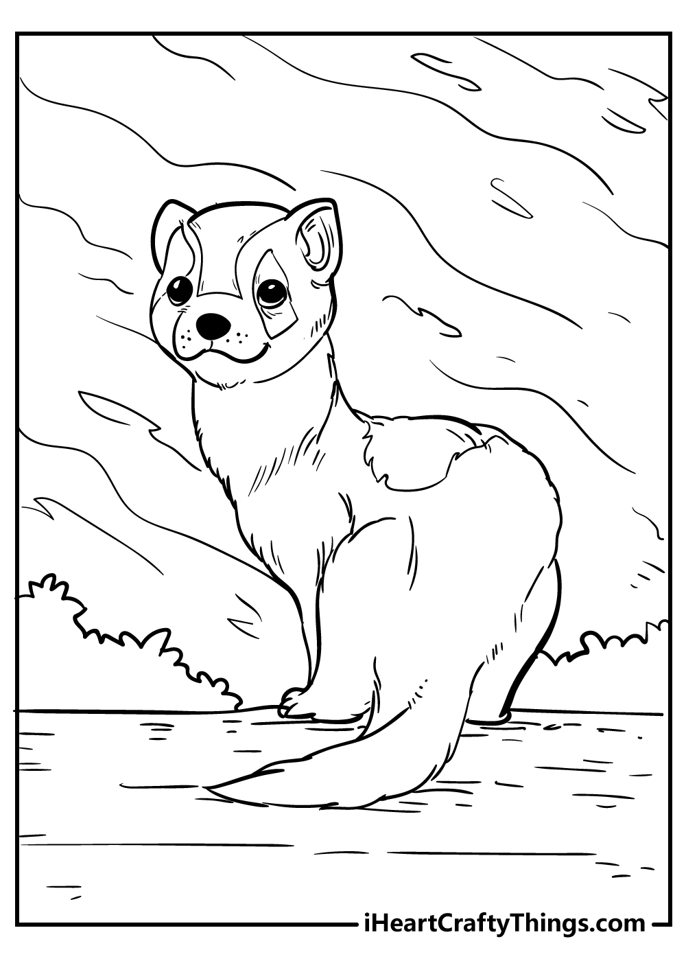cute ferret animal coloring pages free download