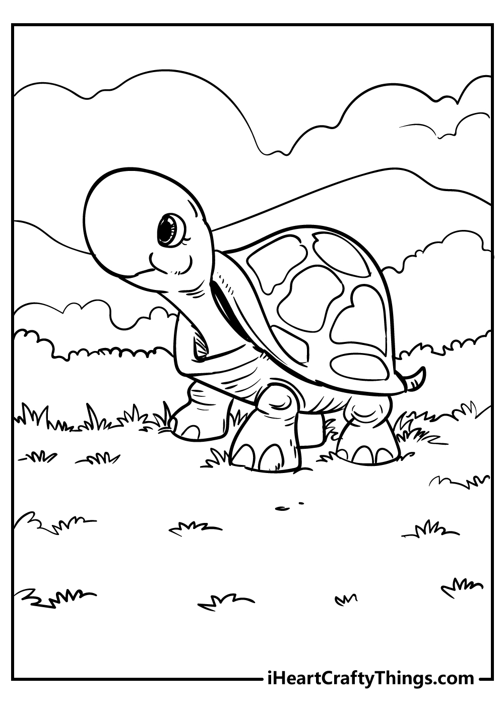 cute tortoise animal coloring pages free printable