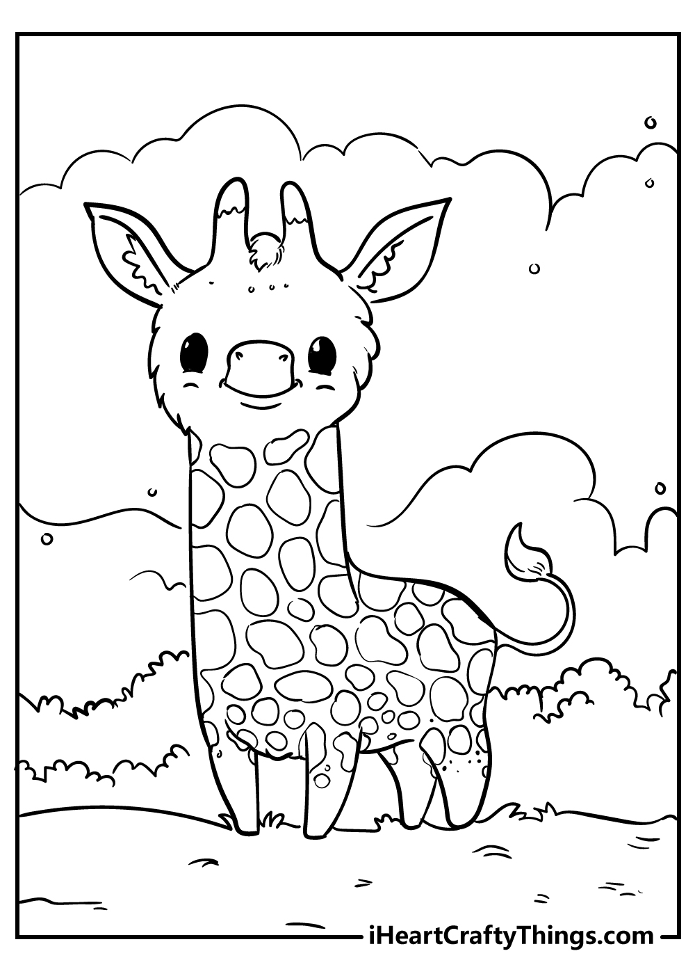 cute giraffe animal coloring pages free download
