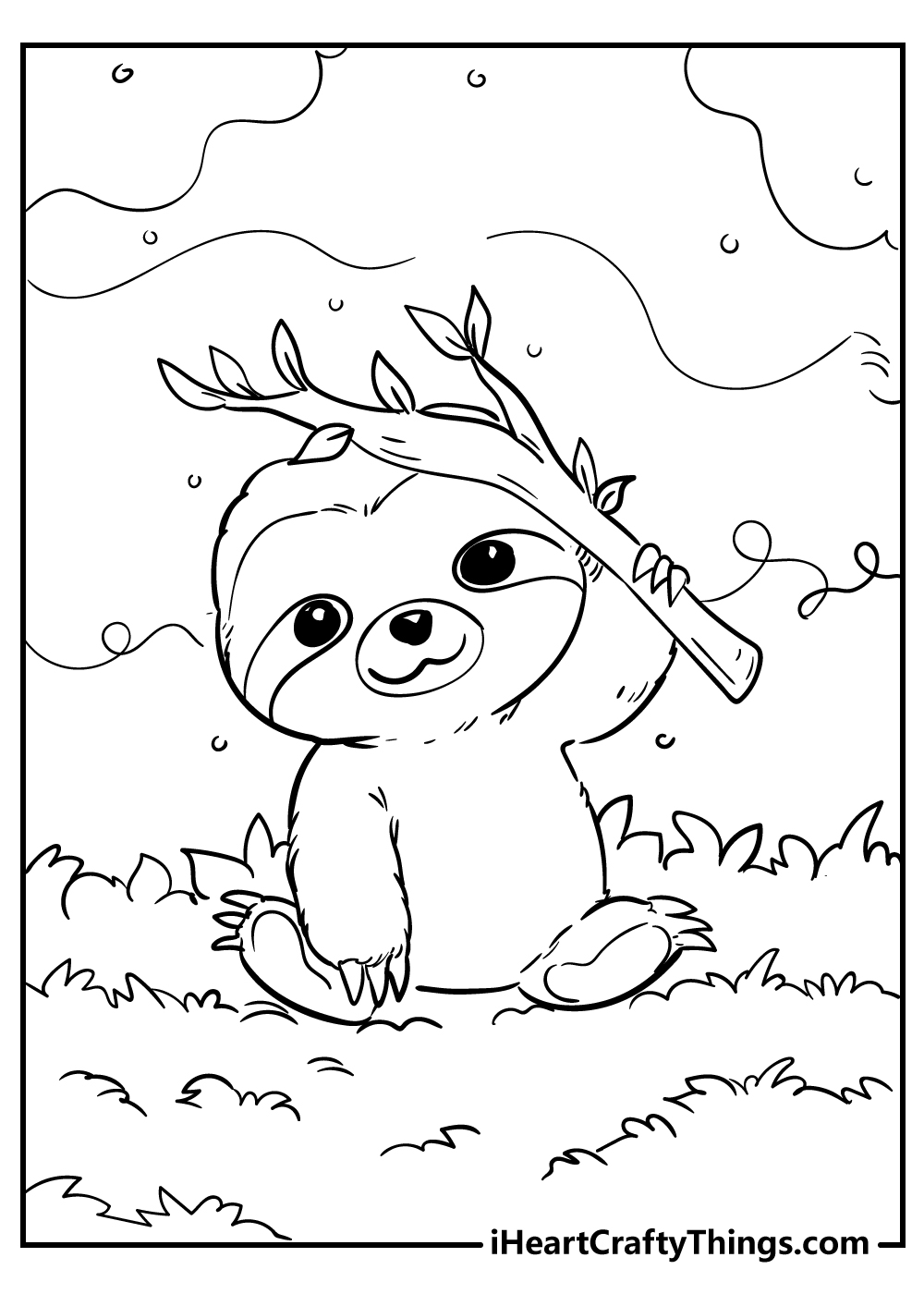 cute little sloth coloring pages free printable