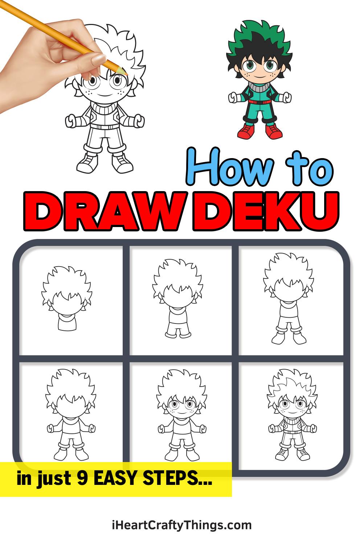 how to draw deku in 9 easy steps