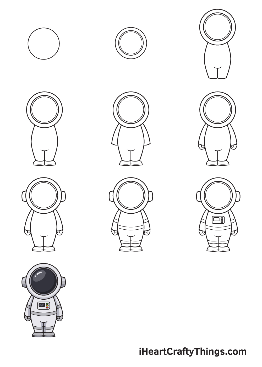drawing astronaut in 9 steps