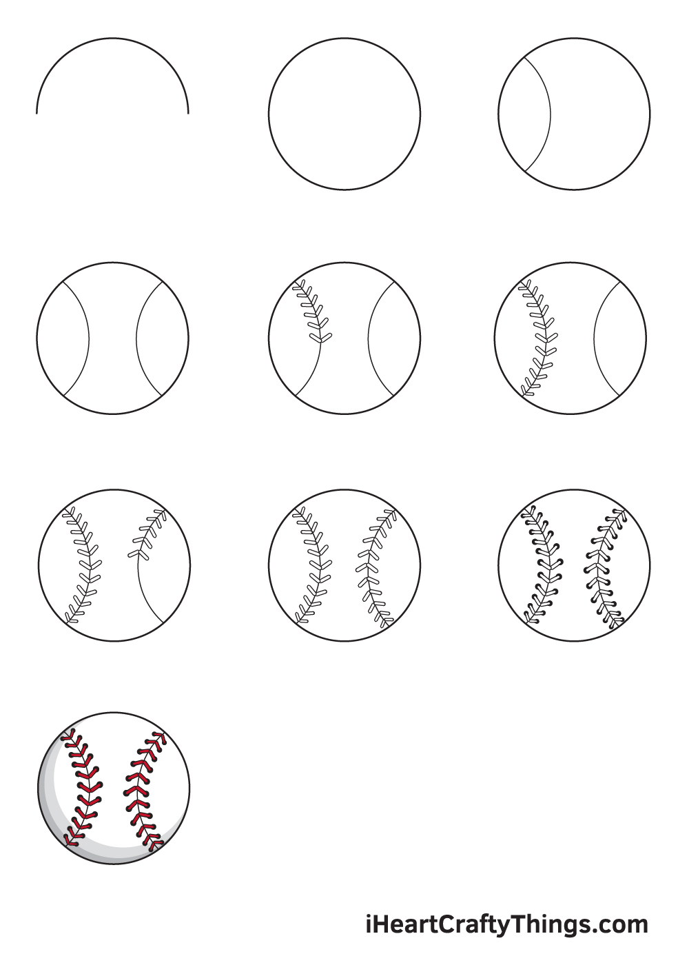 drawing baseball in 9 easy steps