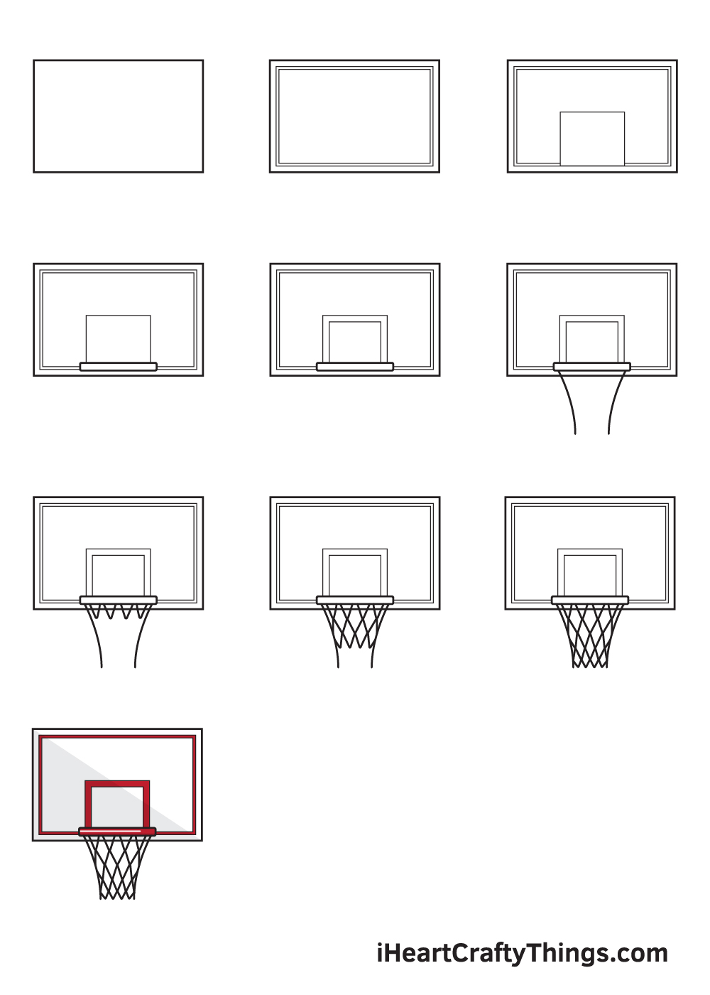 drawing basketball hoop in 9 easy steps