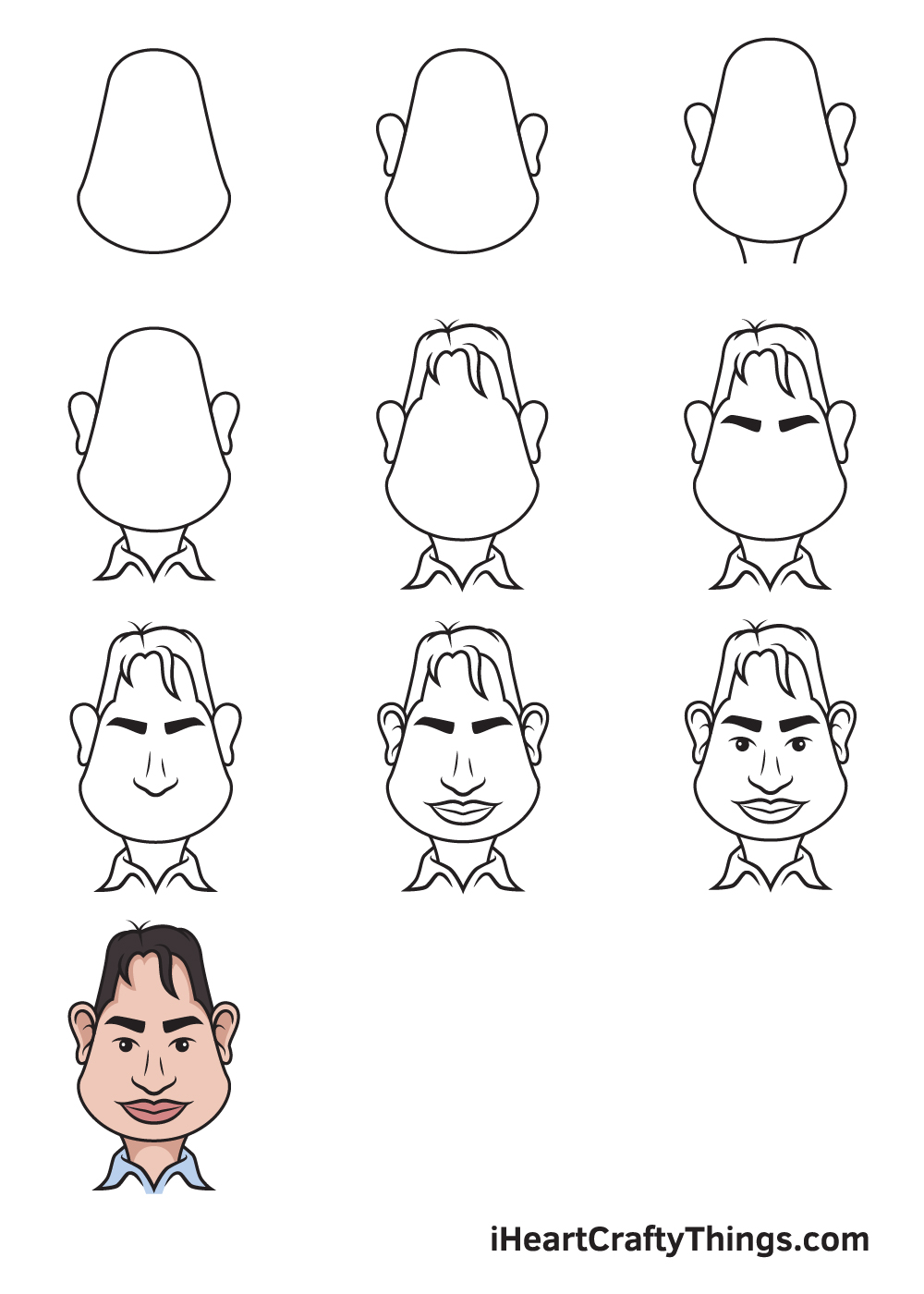drawing caricatures in 9 steps