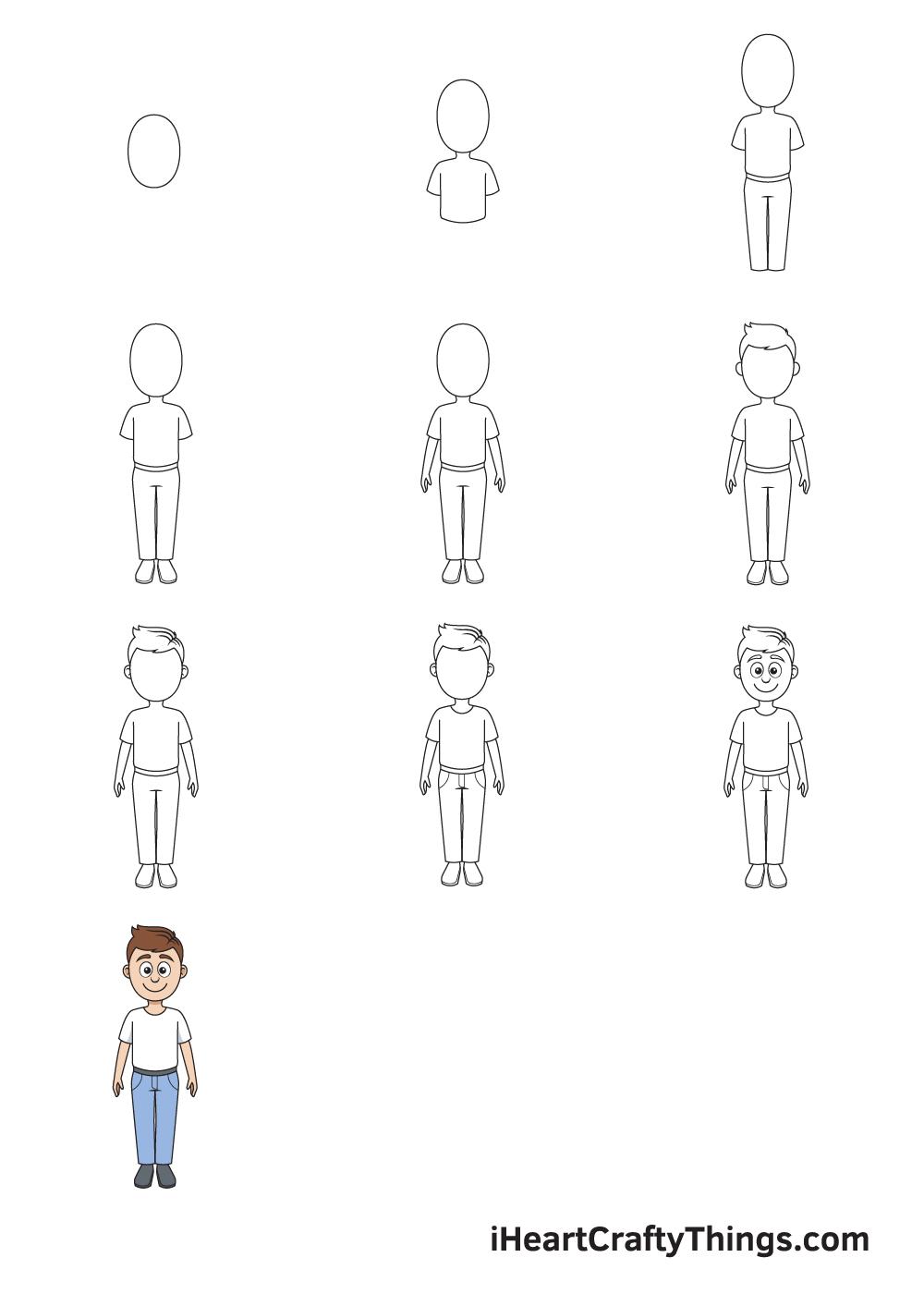 drawing cartoon people in 9 easy steps