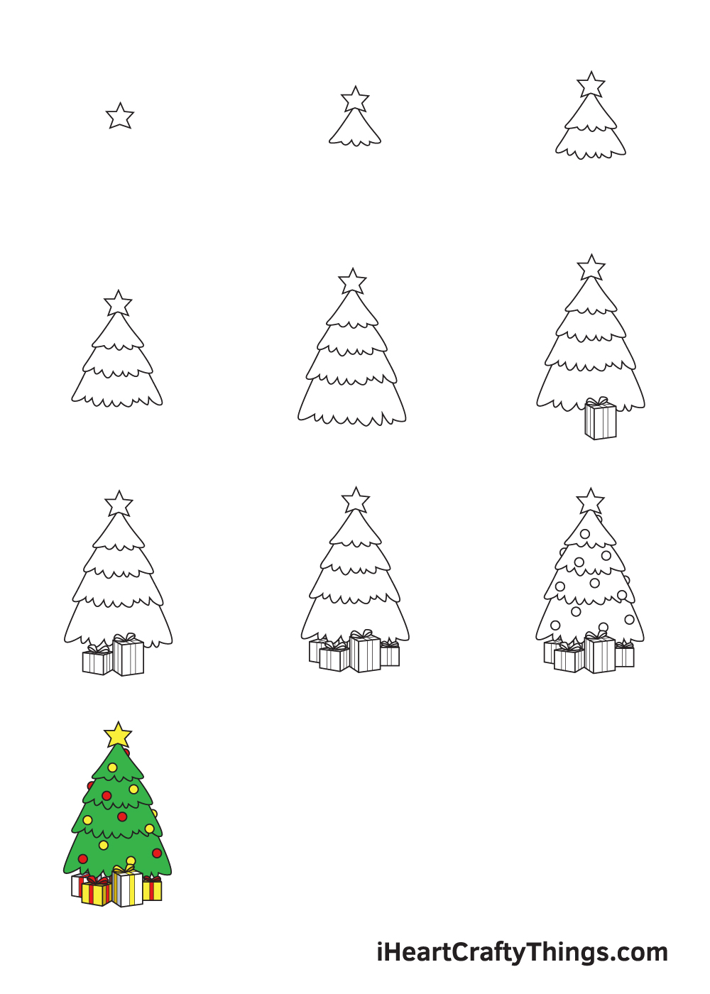 drawing christmas stuff in 9 steps