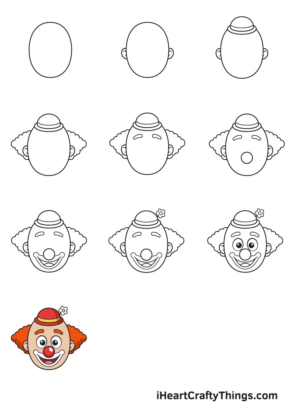 drawing clown in 9 easy steps