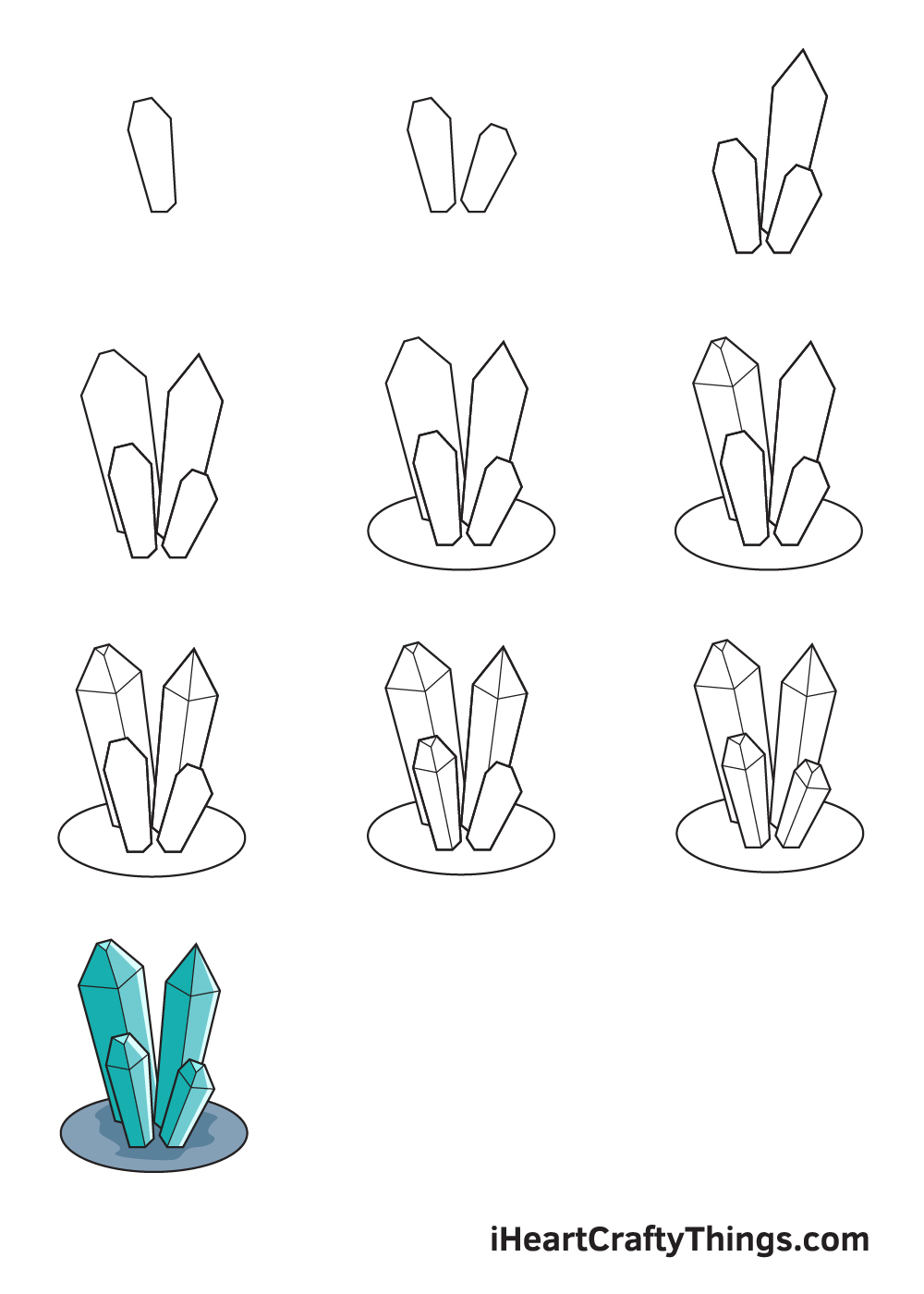 drawing crystals in 9 easy steps