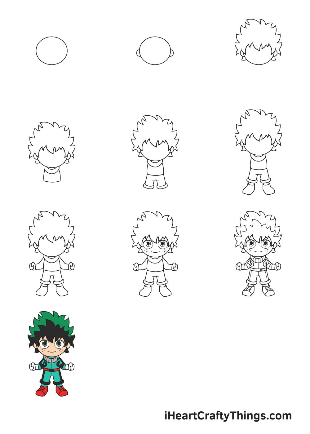 drawing deku in 9 steps