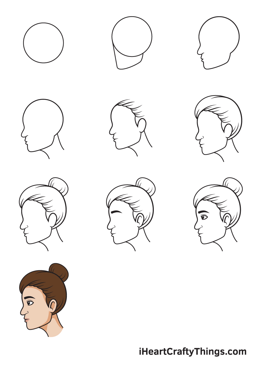 drawing face from the side in 9 steps