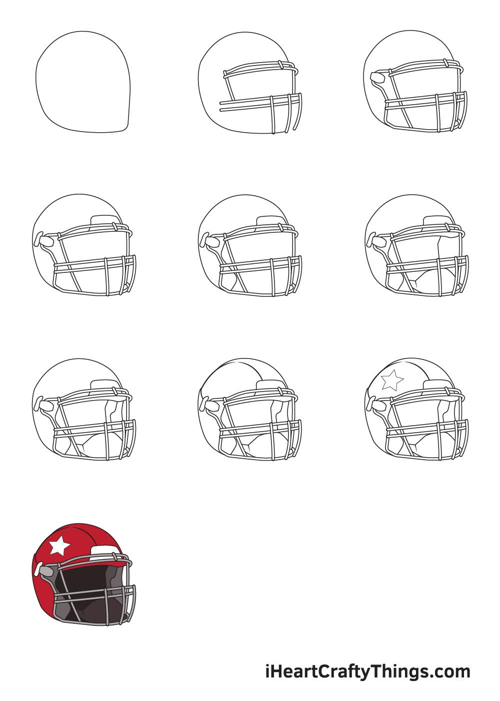 drawing football helmet in 9 steps