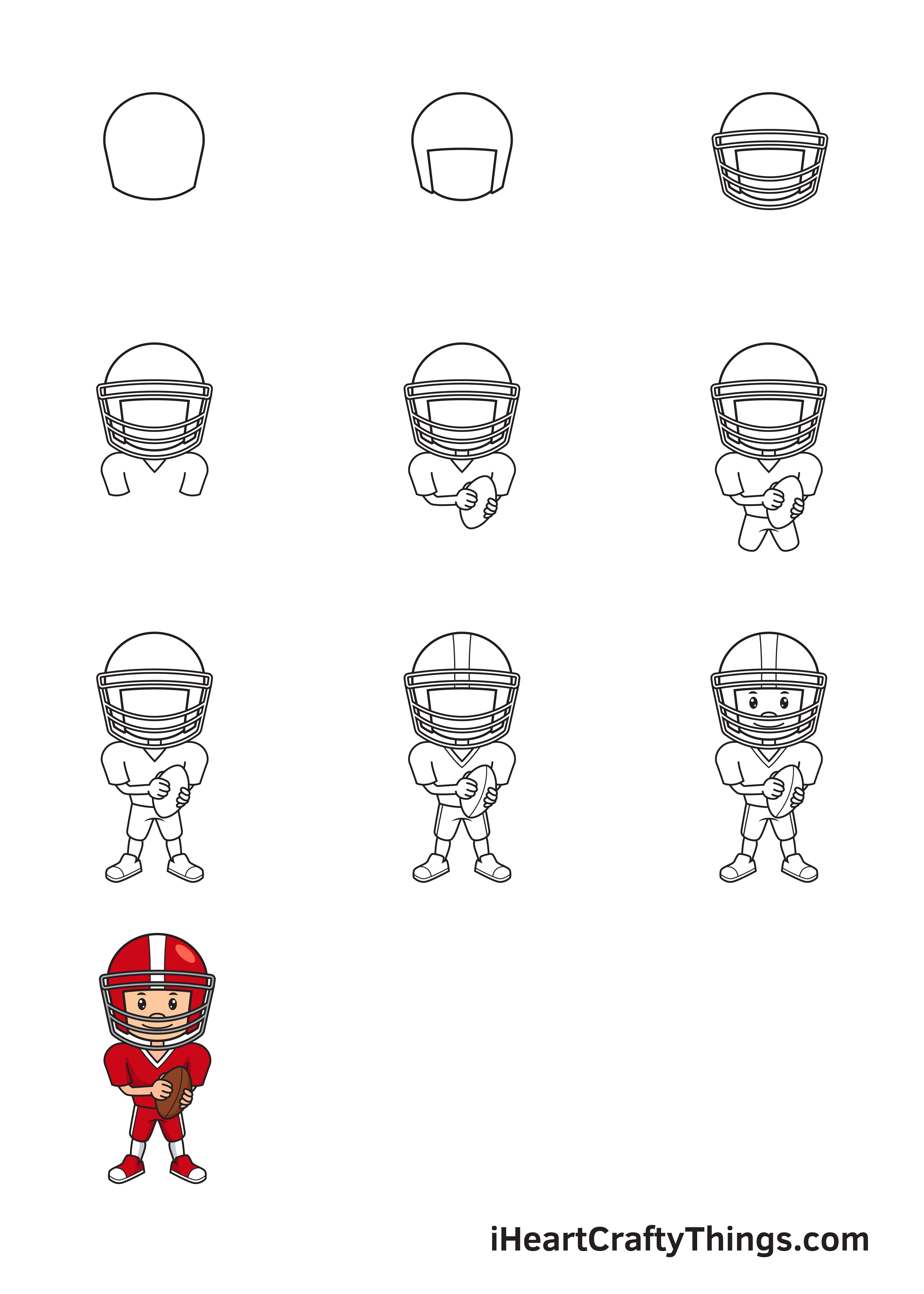 drawing football player in 9 steps