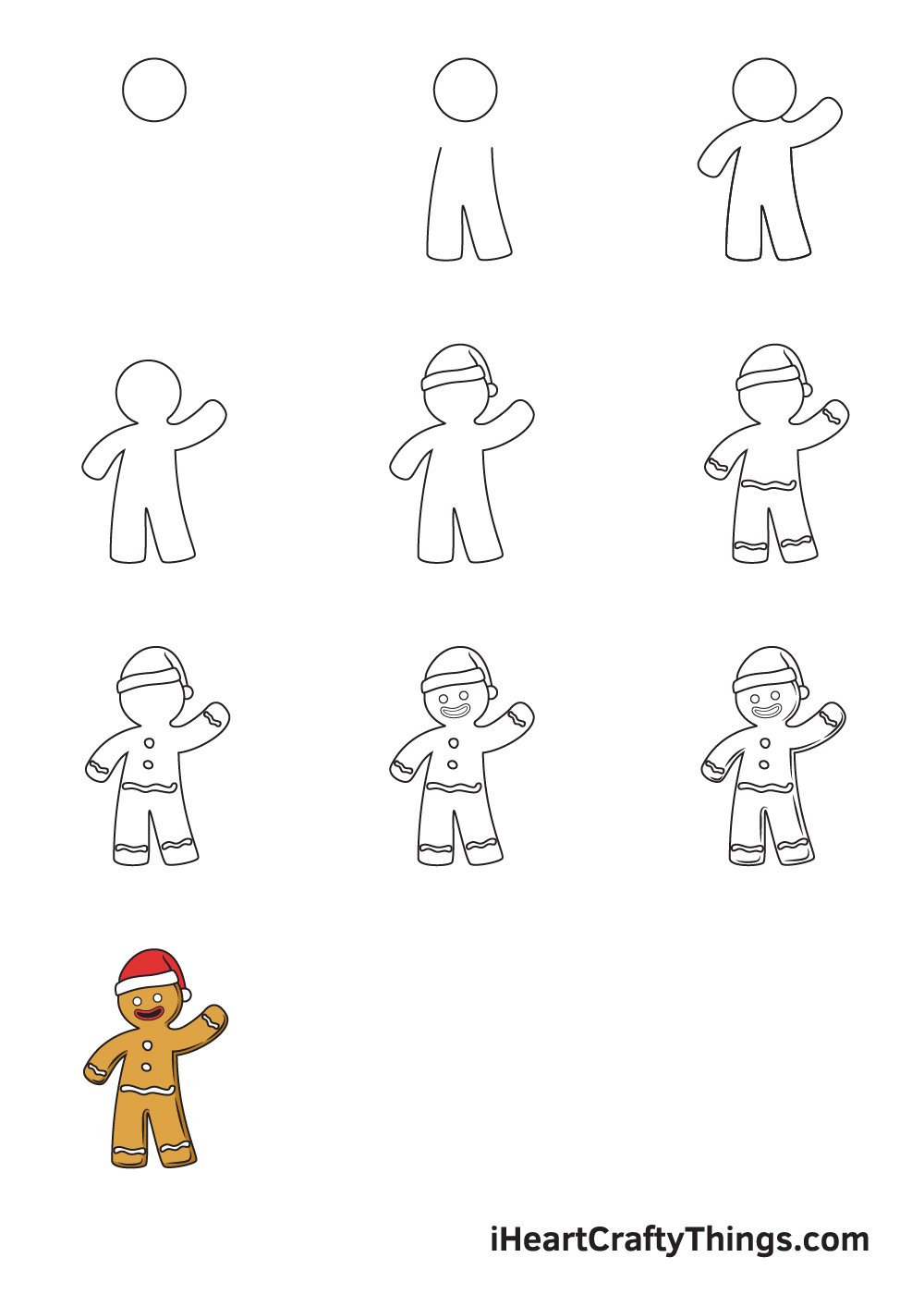 drawing gingerbread man in 9 easy stops