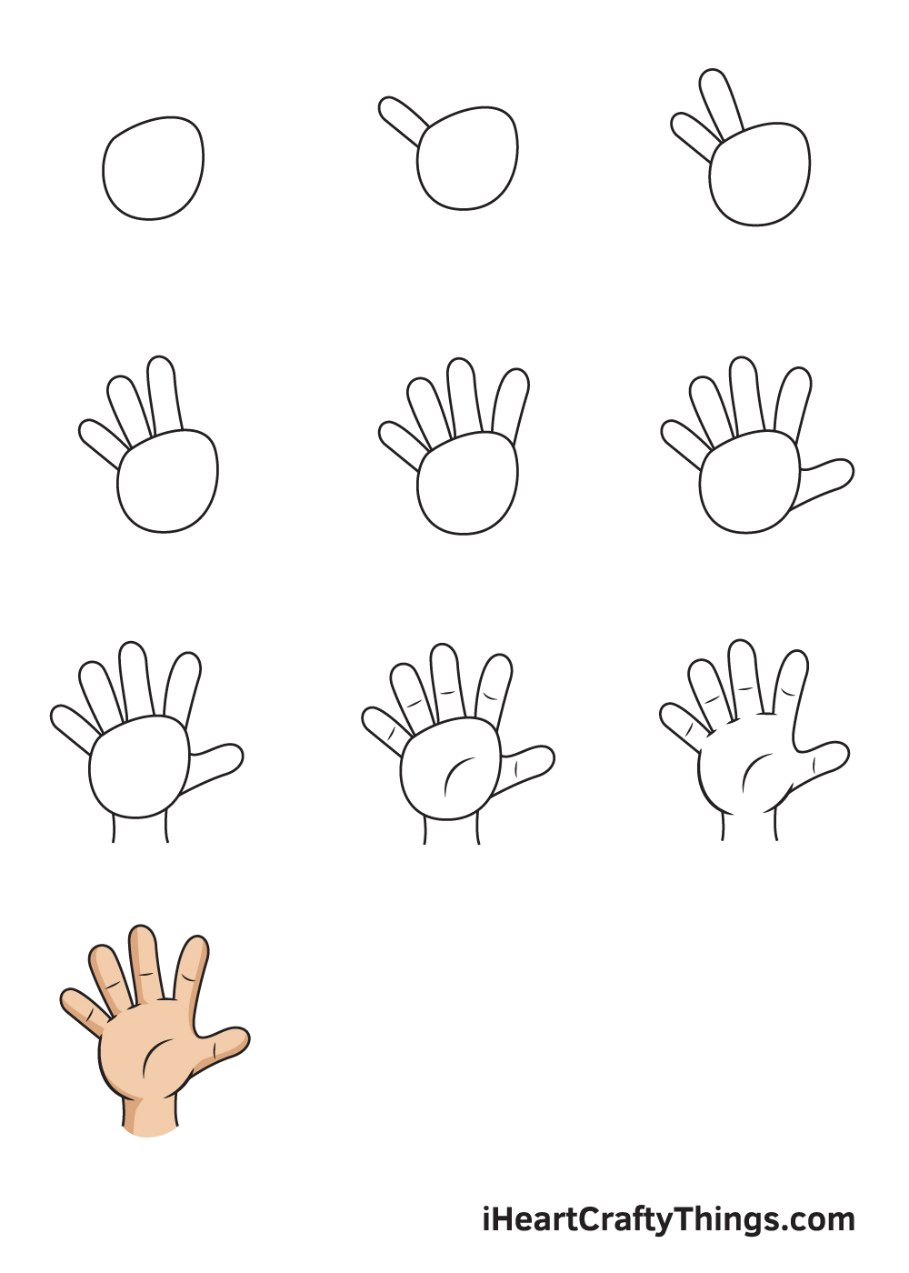 drawing hand in 9 easy steps