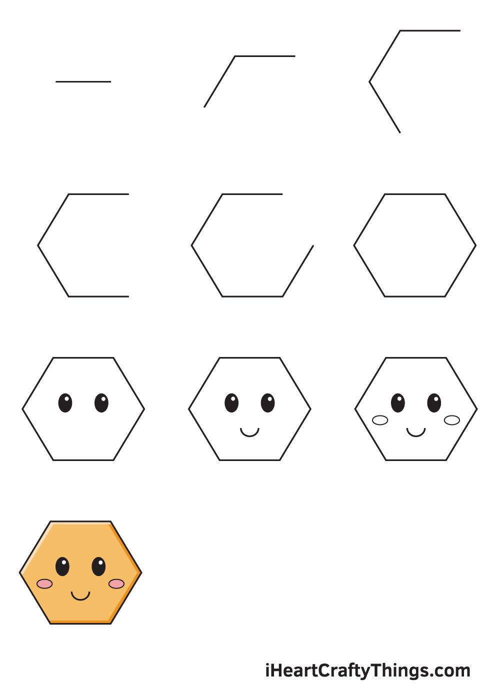 drawing hexagon in 9 easy steps